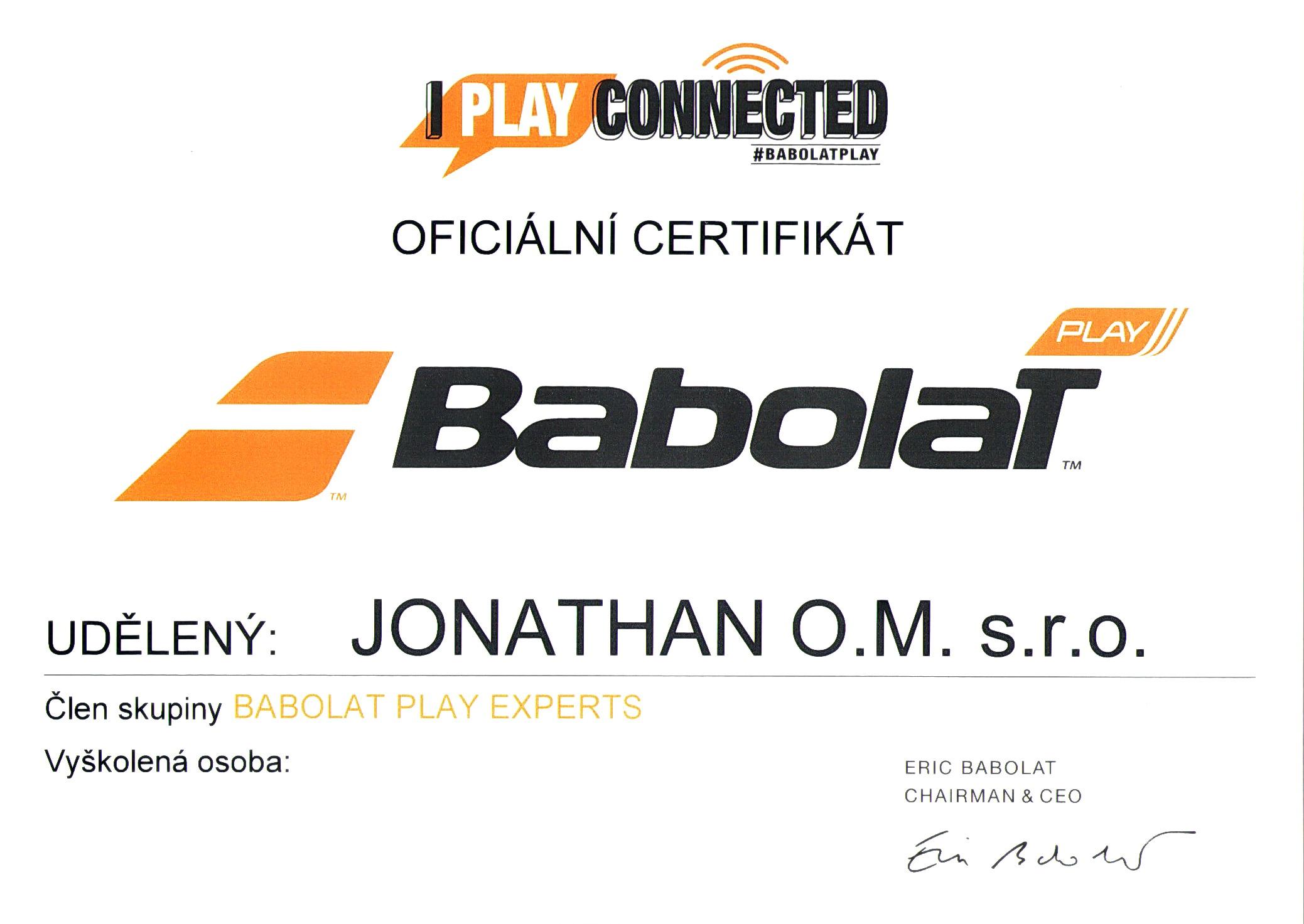 BABOLAT PLAY certifikát