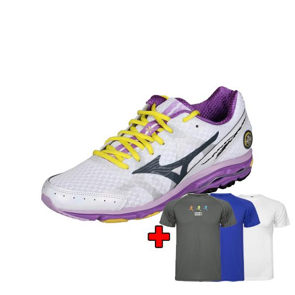 MIZUNO WAWE RIDER 17 dámská běžecká obuv - bílá - fialová + bonu