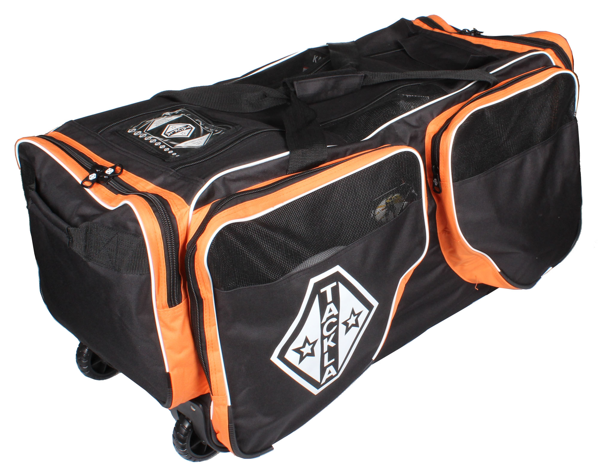 TACKLA Wheel Bag, černá - oranžová hokejová taška na kolečkách -