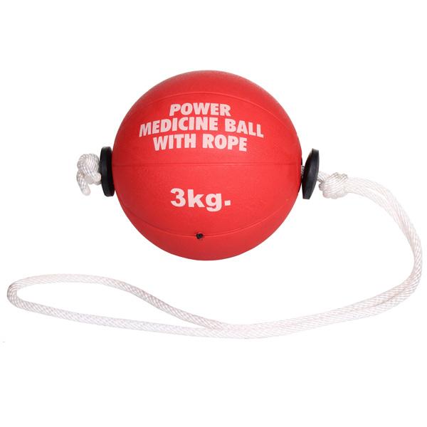 MERCO medicine ball Power medicinální míč s lanem, gumový - 3 kg