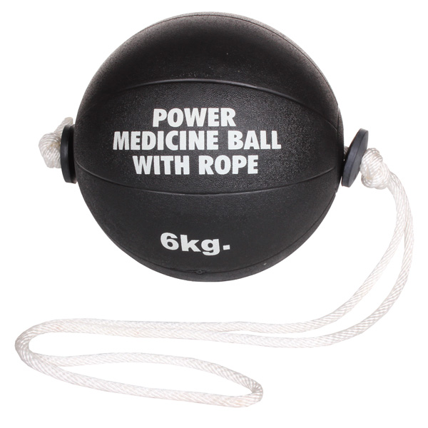 MERCO medicine ball Power medicinální míč s lanem, gumový - 6 kg